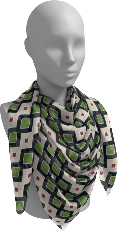 The Samantha Square Scarf in Navy and Green-Square Scarf-Clash Patterns by Jennifer Akkermans