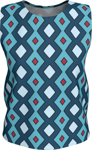 The Samantha Tank Top in Blue-Loose Tank Top (Regular)-Clash Patterns by Jennifer Akkermans
