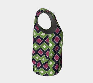 The Samantha Tank Top in Green and Wine-Clash Patterns
