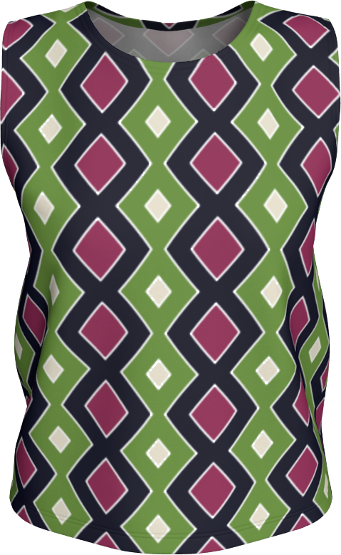 The Samantha Tank Top in Green and Wine