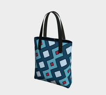 Load image into Gallery viewer, The Samantha Tote Bag in Blue-Clash Patterns