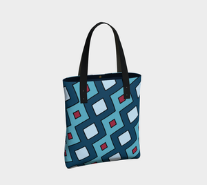 The Samantha Tote Bag in Blue-Clash Patterns