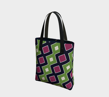Load image into Gallery viewer, The Samantha Tote Bag in Green and Wine-Clash Patterns