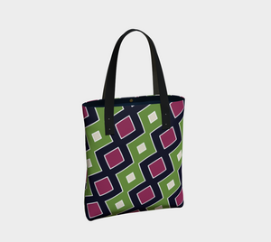 The Samantha Tote Bag in Green and Wine-Clash Patterns