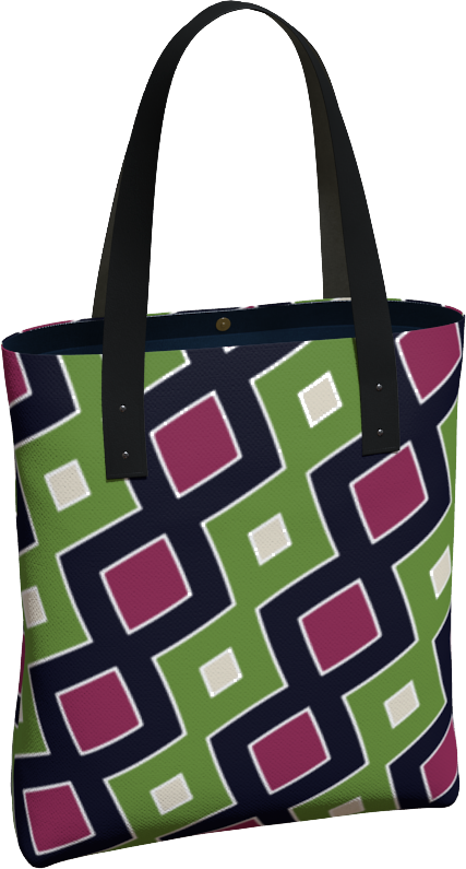 The Samantha Tote Bag in Green and Wine
