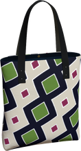Load image into Gallery viewer, The Samantha Tote Bag in Green and Wine-Tote Bag-Clash Patterns by Jennifer Akkermans
