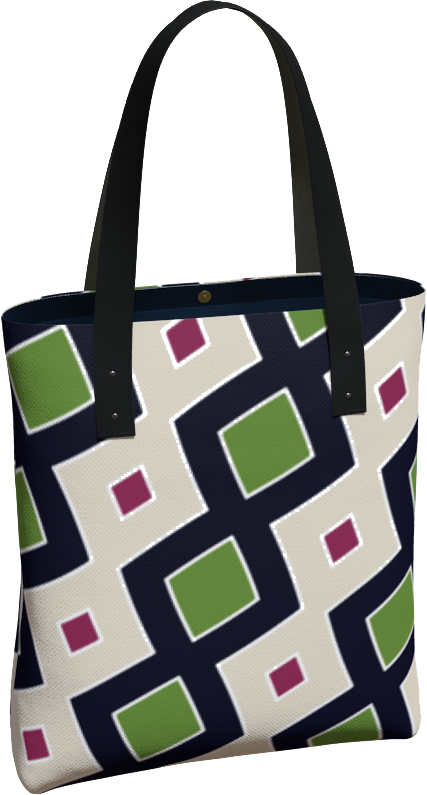 The Samantha Tote Bag in Green and Wine-Tote Bag-Clash Patterns by Jennifer Akkermans