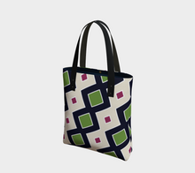 Load image into Gallery viewer, The Samantha Tote Bag in Navy and Green-Clash Patterns