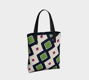 The Samantha Tote Bag in Navy and Green-Clash Patterns