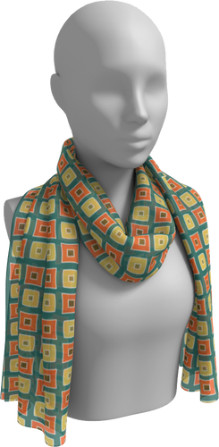 The Sandra Long Scarf in Green, Orange and Yellow-Long Scarf-Clash Patterns by Jennifer Akkermans