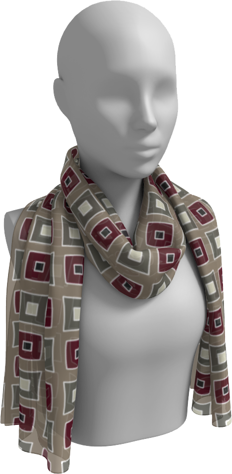 The Sandra Long Scarf in Neutral Maroon