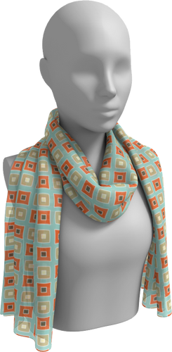 The Sandra Long Scarf in Seafoam and Coral-Long Scarf-Clash Patterns by Jennifer Akkermans