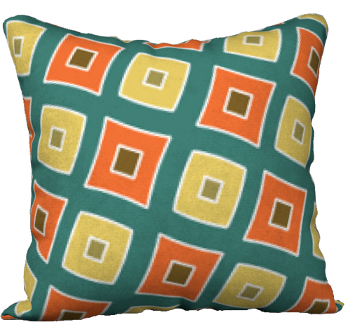 The Sandra Reversible Pillow in Green, Orange and Yellow-18