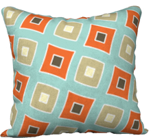 "Load image into Gallery viewer, The Sandra Reversible Pillow in Seafoam and Coral-18"" x 18"" Pillow Case-Clash Patterns by Jennifer Akkermans"