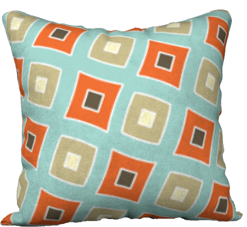 The Sandra Reversible Pillow in Seafoam and Coral-18