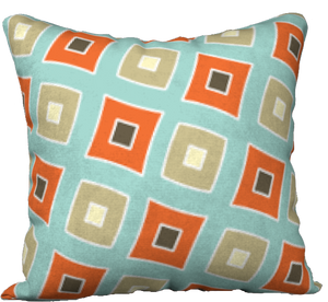 "The Sandra Reversible Pillow in Seafoam and Coral-18"" x 18"" Pillow Case-Clash Patterns by Jennifer Akkermans"