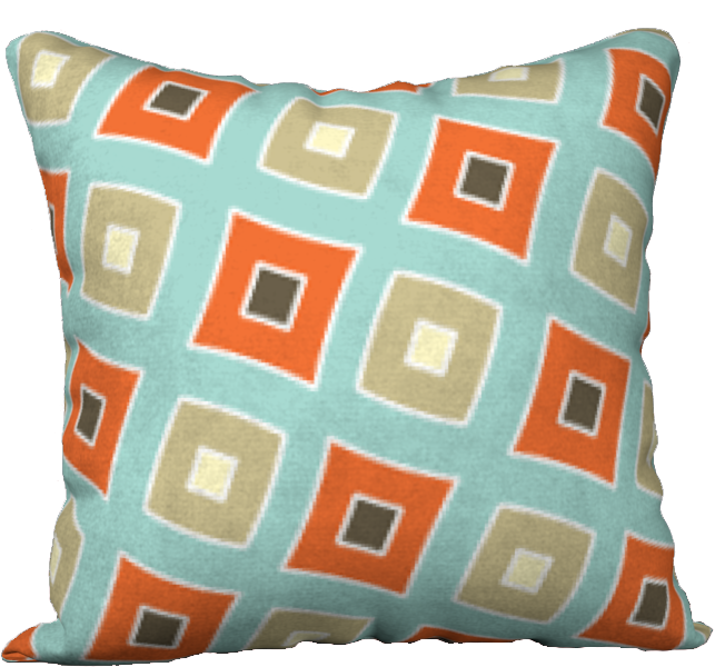 The Sandra Reversible Pillow in Seafoam and Coral