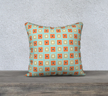 Load image into Gallery viewer, The Sandra Reversible Pillow in Seafoam and Coral-Clash Patterns