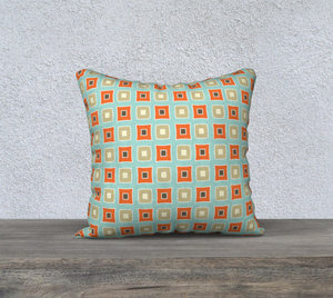 The Sandra Reversible Pillow in Seafoam and Coral-Clash Patterns