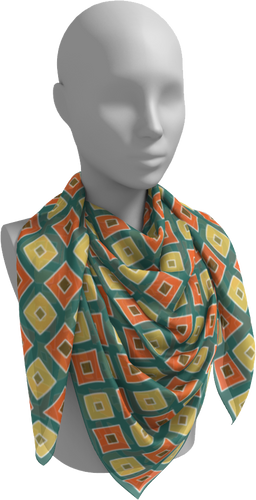 The Sandra Square Scarf in Green, Orange and Yellow-Square Scarf-Clash Patterns by Jennifer Akkermans