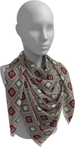 The Sandra Square Scarf in Neutral Maroon-Square Scarf-Clash Patterns by Jennifer Akkermans