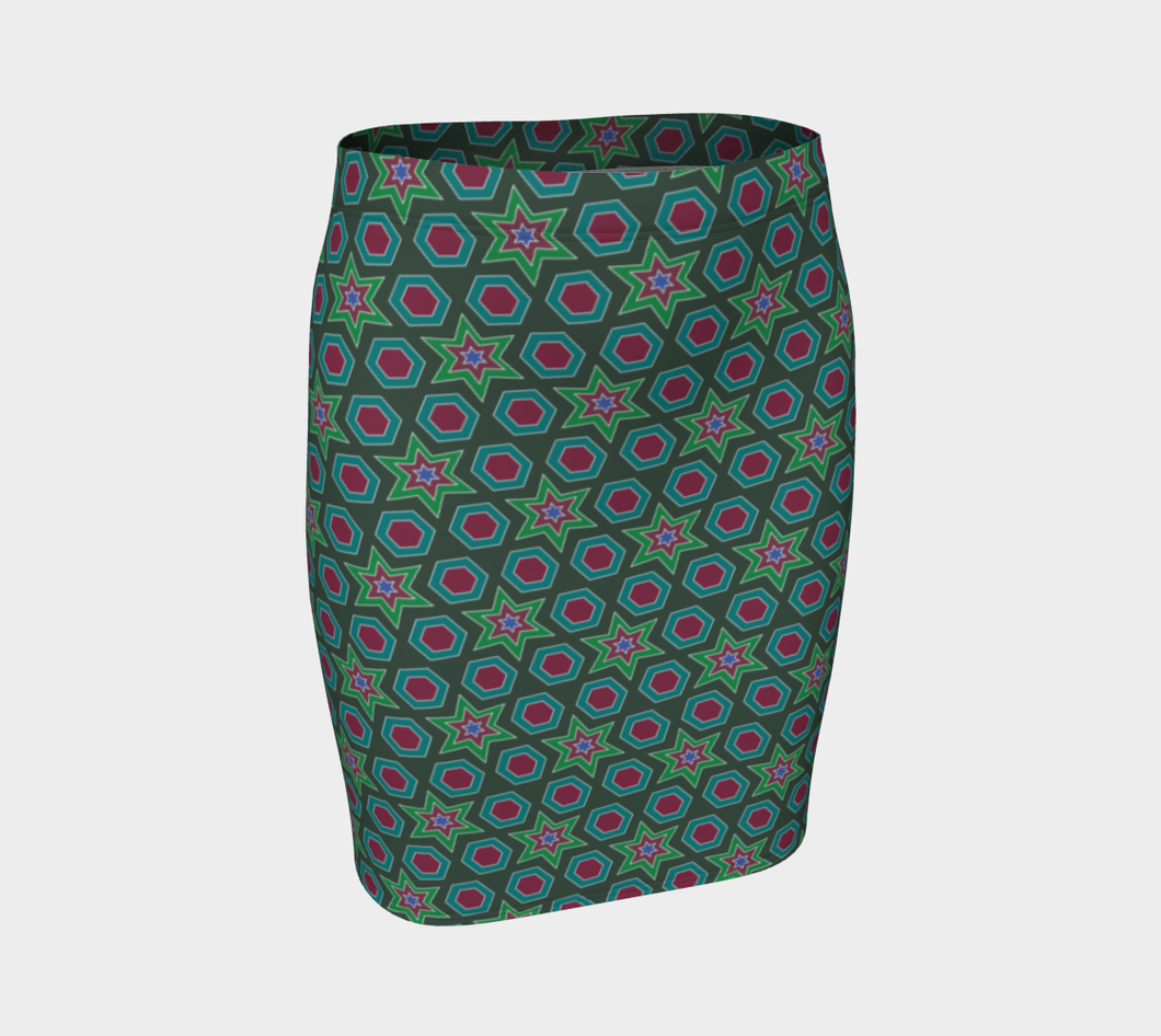 The Sarah Fitted Skirt in Green-Clash Patterns