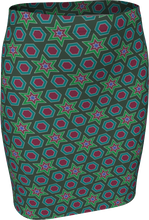 Load image into Gallery viewer, The Sarah Fitted Skirt in Green-Fitted Skirt-Clash Patterns by Jennifer Akkermans