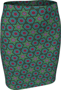 The Sarah Fitted Skirt in Green-Fitted Skirt-Clash Patterns by Jennifer Akkermans
