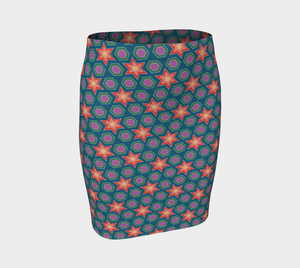 The Sarah Fitted Skirt in Multicolour-Clash Patterns