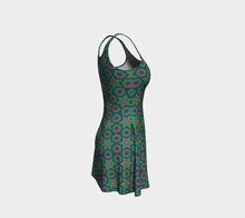 Load image into Gallery viewer, The Sarah Flare Dress in Green-Clash Patterns