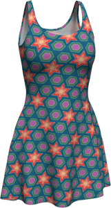 The Sarah Flare Dress in Multicolour-Flare Dress-Clash Patterns by Jennifer Akkermans