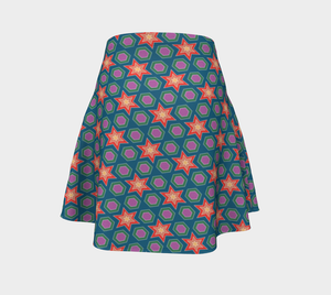 The Sarah Flare Skirt in Multicolour-Clash Patterns