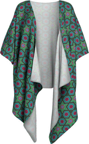 The Sarah Kimono in Green-Draped Kimono-Clash Patterns by Jennifer Akkermans