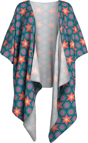 The Sarah Kimono in Multicolour-Draped Kimono-Clash Patterns by Jennifer Akkermans