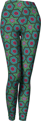 The Sarah Leggings in Green-Leggings-Clash Patterns by Jennifer Akkermans