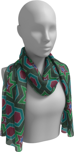 The Sarah Long Scarf in Green-Long Scarf-Clash Patterns by Jennifer Akkermans