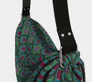 The Sarah Origami Bag in Green-Clash Patterns