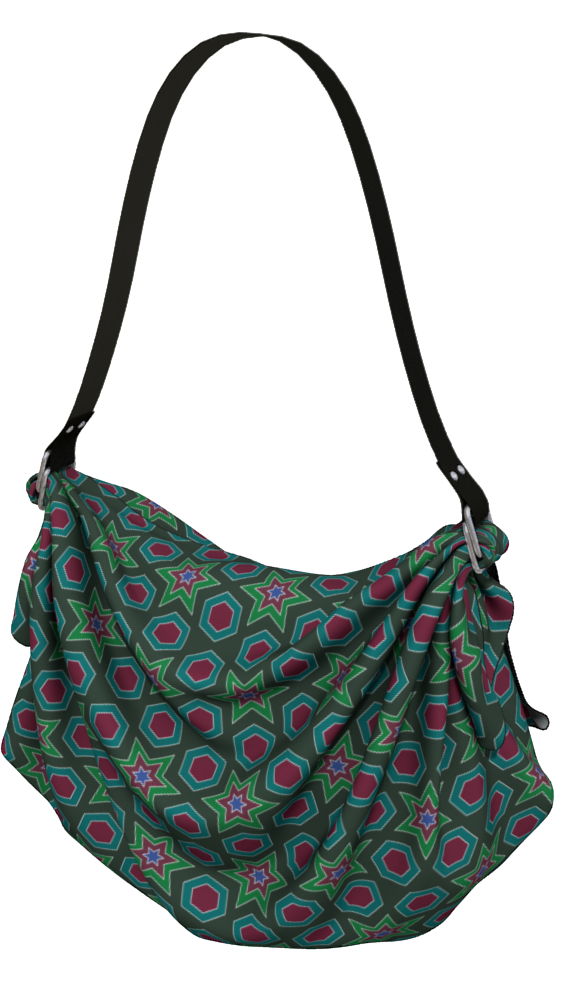 The Sarah Origami Bag in Green-Origami Tote-Clash Patterns by Jennifer Akkermans