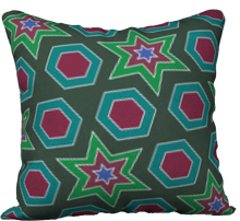 "Load image into Gallery viewer, The Sarah Reversible Pillow in Green-18"" x 18"" Pillow Case-Clash Patterns by Jennifer Akkermans"