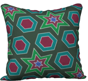 "The Sarah Reversible Pillow in Green-18"" x 18"" Pillow Case-Clash Patterns by Jennifer Akkermans"