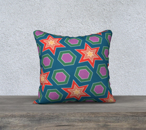 The Sarah Reversible Pillow in Multicolour-Clash Patterns