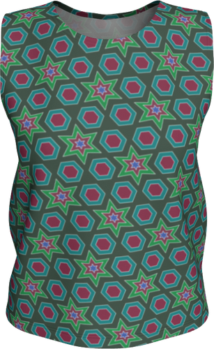 The Sarah Tank Top in Green-Loose Tank Top (Regular)-Clash Patterns by Jennifer Akkermans