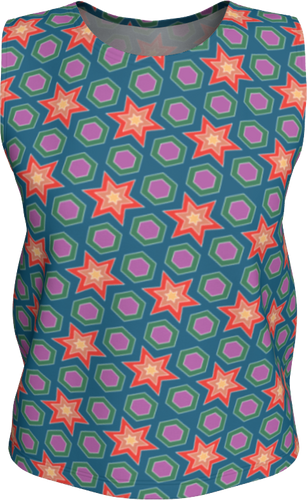 The Sarah Tank Top in Multicolour-Loose Tank Top (Regular)-Clash Patterns by Jennifer Akkermans