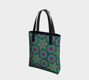 The Sarah Tote Bag in Green-Clash Patterns