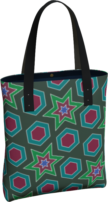 The Sarah Tote Bag in Green-Tote Bag-Clash Patterns by Jennifer Akkermans