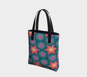 The Sarah Tote Bag in Multicolour-Clash Patterns