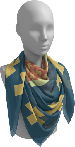 The Second Cora Square Scarf in Blue and Orange-Square Scarf-Clash Patterns by Jennifer Akkermans