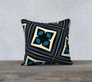 The Second Gia Reversible Pillow in Purple and Blue-Clash Patterns