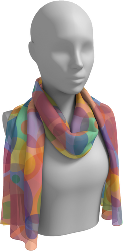 The Soft Rainbow Bubbles Long Scarf-Long Scarf-Clash Patterns by Jennifer Akkermans