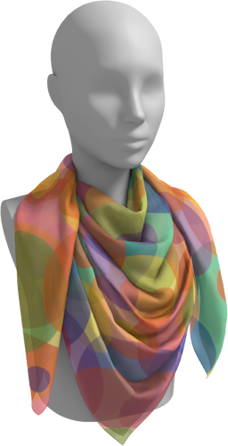 The Soft Rainbow Bubbles Square Scarf-Square Scarf-Clash Patterns by Jennifer Akkermans